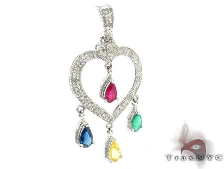 Heart Four Multi Colored Sapphire & Diamond Pendant Stone