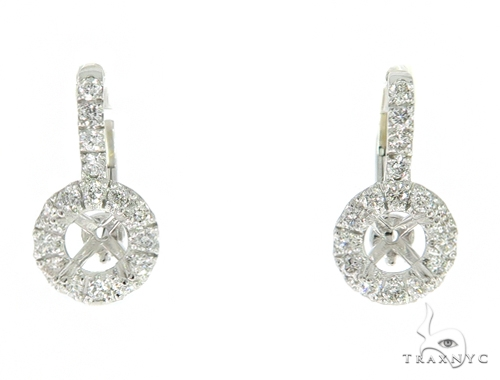 Hex Diamond Semi Mount Hoop Earrings Stone