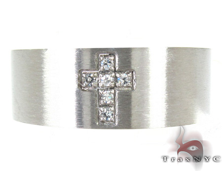Cheap Mens Stainless Steel CZ Cross Ring Metal