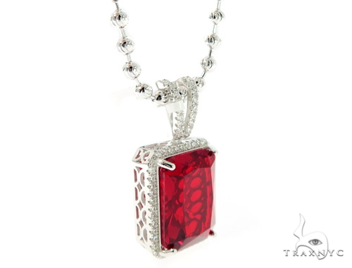 Hot Red Gemstone Silver CZ Pendant and Moon Cut Chain Set 49568 Metal