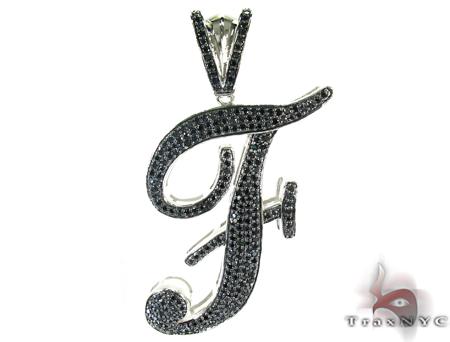 Initial F Black Color CZ Sterling Silver Pendant Metal