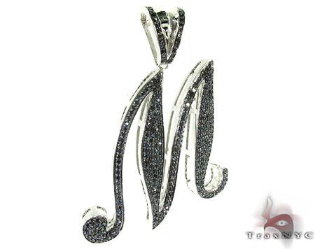 Initial M Black Color CZ Sterling Silver Pendant Metal