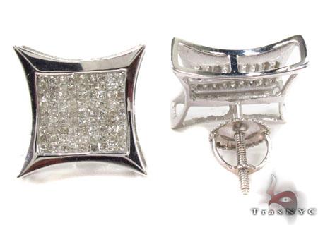 Invisible Diamond 14K White Gold Earrings 31665 Stone
