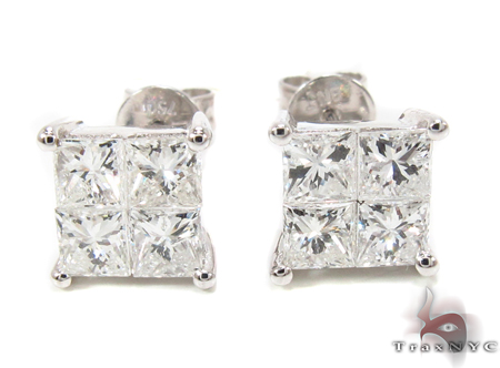Invisible Diamond Earrings 32378 Stone