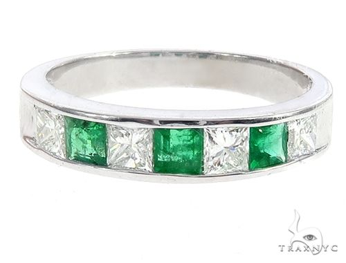 Invisible Emerald Gemstone Diamond Ring Anniversary/Fashion