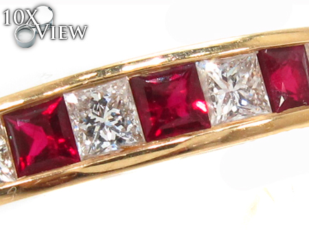 Invisible Ruby & Diamond Ring Anniversary/Fashion