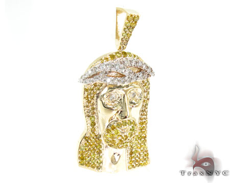 Jesus Canary Color Diamond Pendant Style