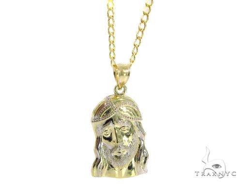 Jesus Gold Pendant Cuban Chain Set 45306 Style