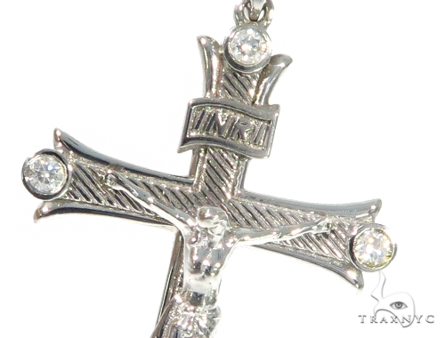 10K White Gold Diamond Cross Crucifix  45406 Diamond