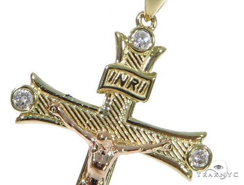 10K Yellow Gold Diamond Cross Crucifix 45414 Diamond