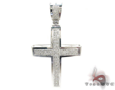 10K Gold Junior Cross Crucifix and 24 Inches Silver Franco n Set Diamond