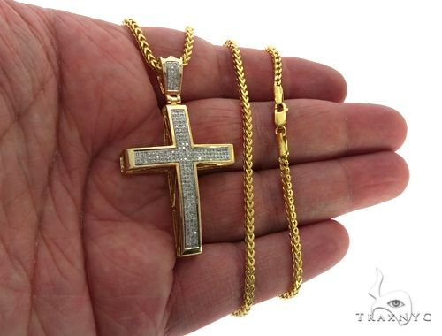 Junior Cross Crucifix and 24 Inches 10K Gold Franco Link Chain Set 61571 Style
