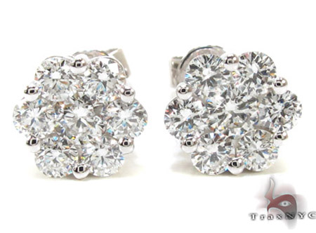 Ladies White Gold Diamond Stud Earrings 21046 Stone