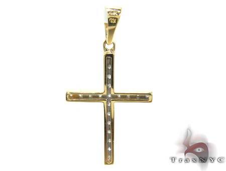 Ladies Yellow Gold Diamond Cross 21479 Style