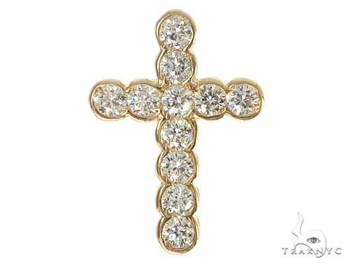 Unisex 11 Stones Diamond Bezel Cross Diamond