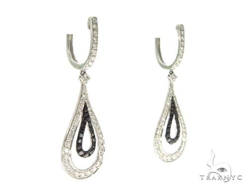 Ladies Pave Black Diamond Earrings 43229 Stone