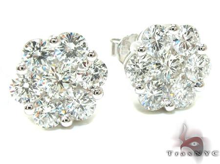 Ladies White Gold Prong Diamond Earrings 21123 Stone