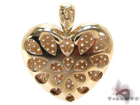 Ladies Yellow Gold Bubble Heart Pendant 20736 Style