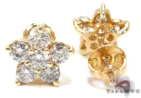 Ladies Yellow Gold Diamond Flower Earrings 21055 Stone