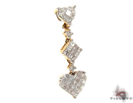 Ladies Yellow Gold Diamond Heart Pendant 20862 Style