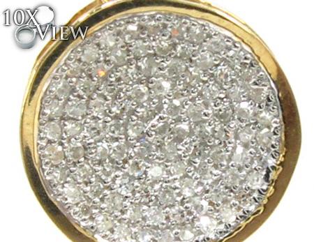 Ladies Yellow Gold Pave Diamond Pendant 21495 Stone