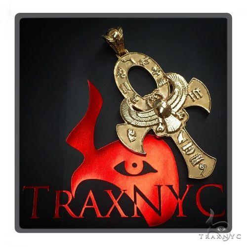 Large 14K Yellow Gold TraxNYC's Mystique Ankh Cross Crucifix 57694 Gold