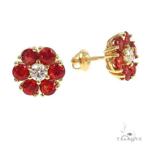 Large Blood Red Sapphire Diamond Flower Earrings 66900 Style