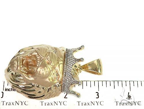 Large Diamond Crown Lion Head Pendant 66264 Metal