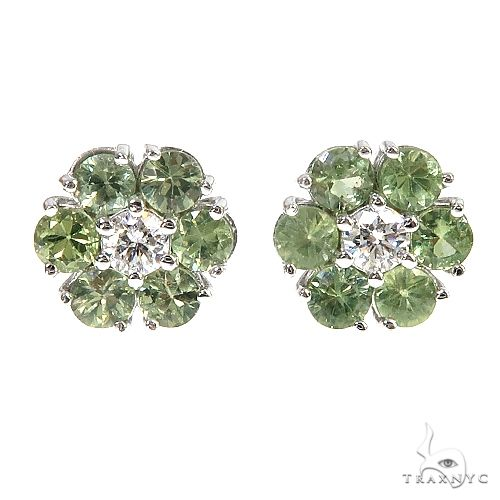 Large Green Sapphire Diamond Flower Earrings 66902 Multicolor SAPPHIRE
