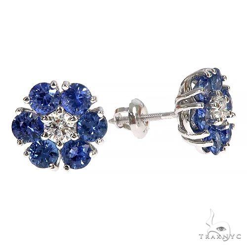 Large Ocean Blue Sapphire Diamond Flower Earrings 66893 Multicolor SAPPHIRE