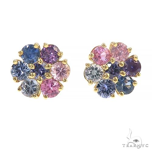 Large Pink and Blue Sapphire Flower Earrings 66895 Multicolor SAPPHIRE