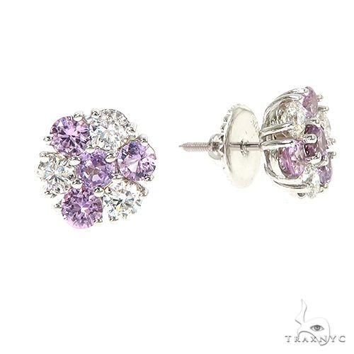 Large Royal Diamond Sapphire Flower Earrings 67043 Multicolor SAPPHIRE