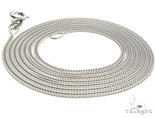 Lightweight Durable 10K White Gold Foxtail Link Chain 24 Inches 1.2mm 2.5 Grams Gold
