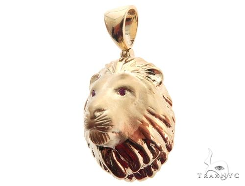 Small Lion Head Pendant with Ruby Eyes Metal