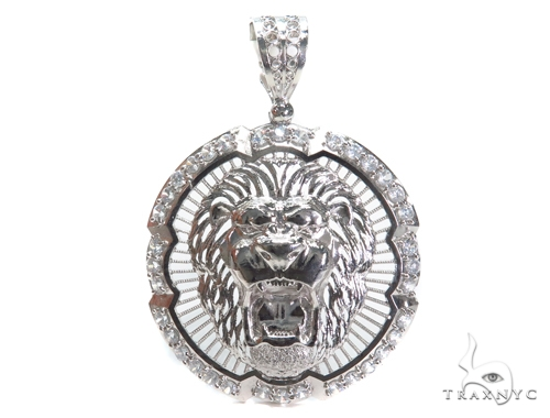 Lion Sterling Silver Pendant 40883 Metal