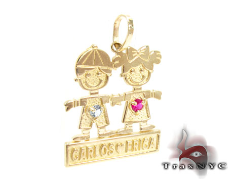 Little Kid Couple Gold Pendant Metal