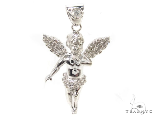 Little Prong Diamond Angel Pendant Stone