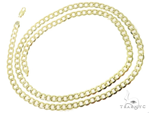 Mens 10k Hollow Yellow Gold Cuban/curb Chain 32 Inches 7mm 20.6 Grams 47092 Gold