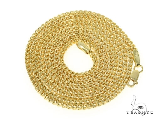 Mens 10k Hollow Yellow Gold Franco Chain 28 Inches 2.1mm 9.35 Grams 47660 Gold