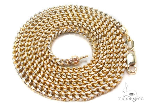 Mens 10k Hollow Yellow Gold Franco Chain 30 Inches 3mm 17.35 Grams 47428 Gold