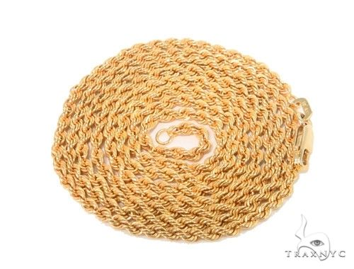 Mens 10k Hollow Yellow Gold Rope Chain 20 Inches 2.7mm 3.0 Grams 63798 Gold