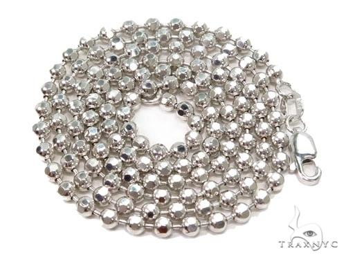 Mens 10k Solid White Gold Ball Chain 30 Inches 3mm 17.77 Grams 46807 Gold