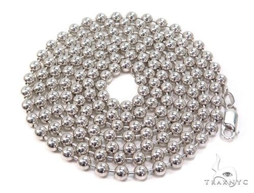 Mens 10k Solid White Gold Ball Chain 30 Inches 3mm 19.92 Grams 46822 Gold