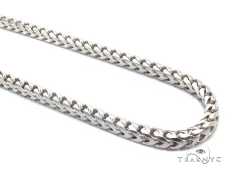 Mens 10k Solid White Gold Franco Chain 26 Inches 3.5mm 32.50 Grams 47532 Gold
