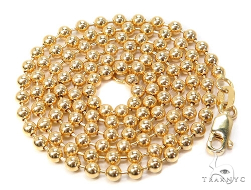 Mens 10k Solid Yellow Gold Ball Chain 24 Inches 3mm 14.50 Grams 46847 Gold