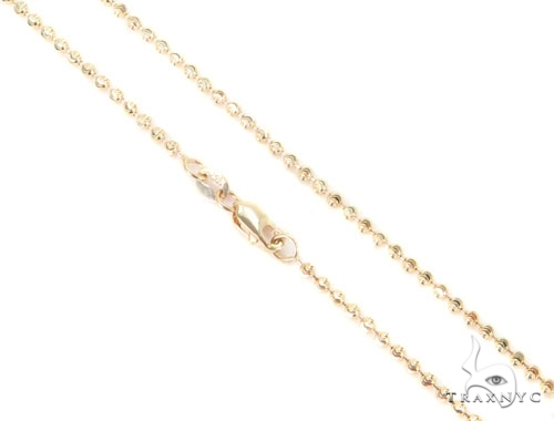 Mens 10k Solid Yellow Gold Moon Cut Chain 26 Inches 2mm 7.5 Grams 48461 Gold