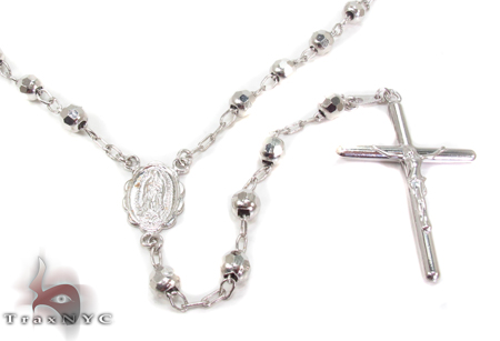 Mens 14k Hollow White Gold Rosary Chain 30 Inches 5mm 19.40 Grams 48709 Gold