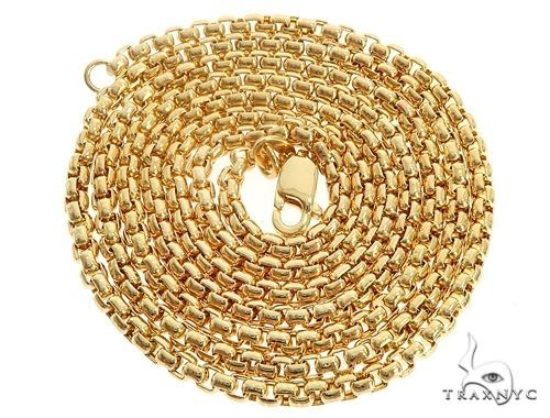 Mens 14k Hollow Yellow Gold Round Box Chain 22 Inches 3.5mm 13.6 Grams 48774 Gold