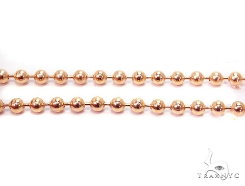 Mens 14k Solid Rose Gold Ball Chain 18 Inches 3mm 12.87 Grams 46815 Gold