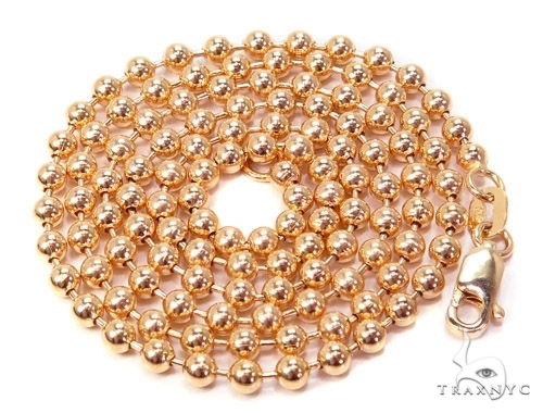 Mens 14k Solid Rose Gold Ball Chain 30 Inches 4mm 36.35 Grams 46818 Gold